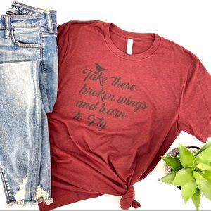 Custom Beatles Broken Wings Heathered T-shirt